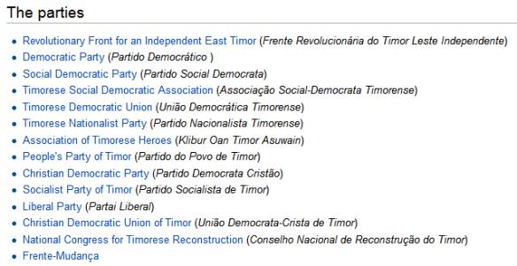 Timor Leste parties (Wikipedia)